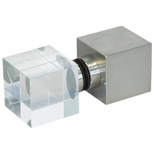 Würfelgriff eckig Edelstahl/Glas-Kombination