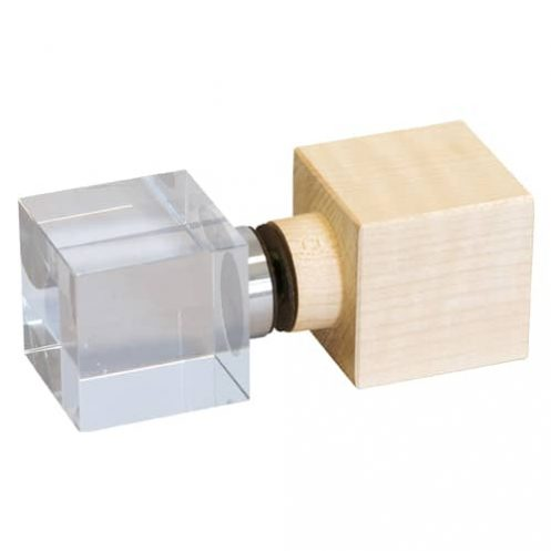 Würfelgriff eckig Ahorn/Glas-Kombination